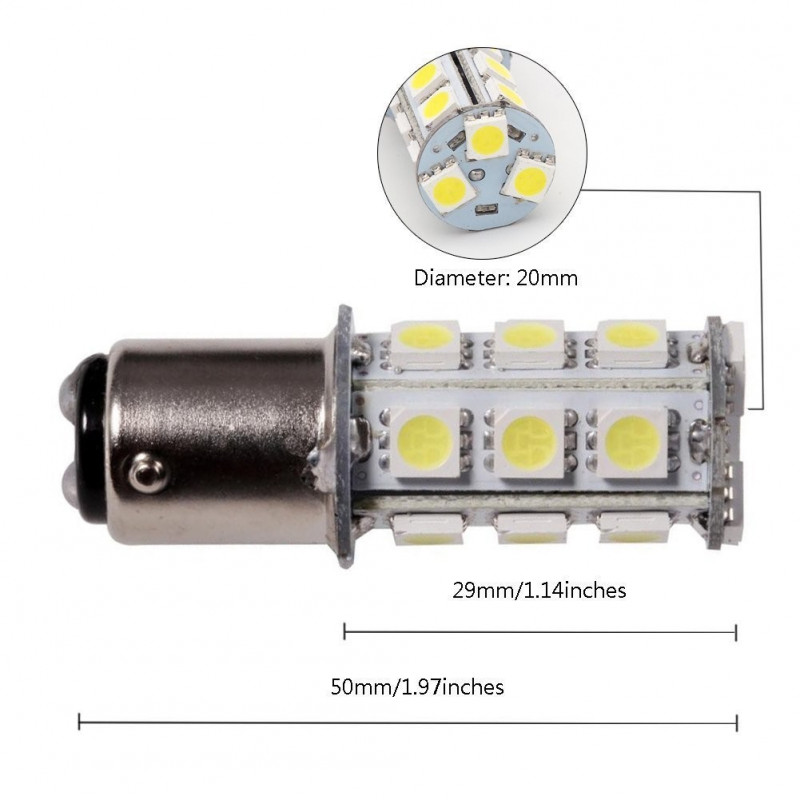 Led diod lampa BA15d Xenonvit 2 pack