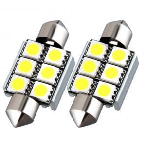 Led diodlampa SV8,5 C5W Spollampa - Festoon 36 mm Canbus 6 SMD 2-pack