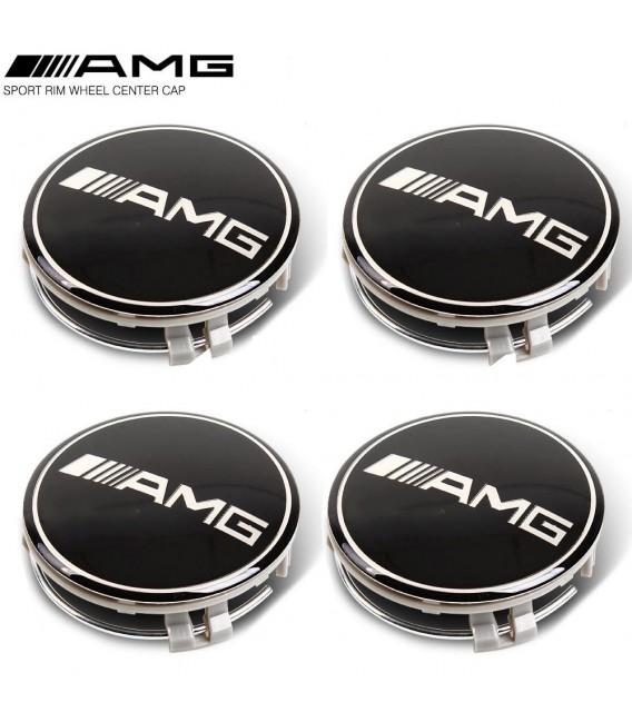 Centrumkåpor Svarta  Mercedes AMG 75mm 4-pack