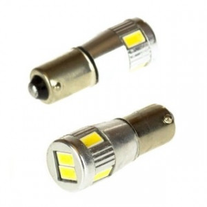 Led diod lampa Ba9s - H4W 6 5630 SMD Xenonvit Canbus