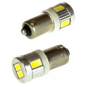 Led diod lampa Ba9s - H4W 6st 5630 SMD Xenonvit