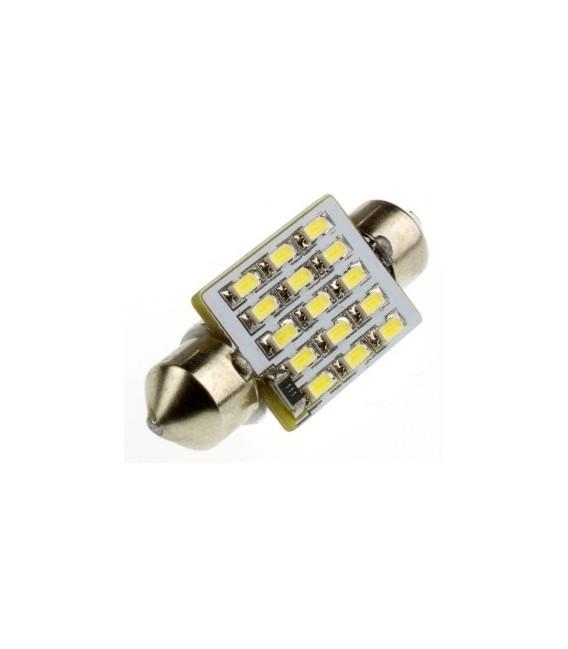 LED Spollampa - Festoon SV8,5 C5W 36 mm 15 SMD dioder Canbus