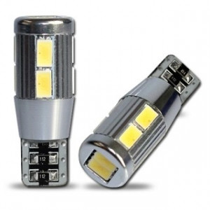 Led diod lampa T10 - W5W 10 st 5630 SMD canbus xenonvit 2-pack