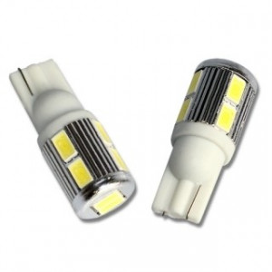 T10 w5w Led Diod Lampa 10st 5630 SMD Xenonvit 2-pack