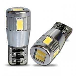 Led diod lampa T10 - W5W 6st 5630 SMD Xenonvit Canbus