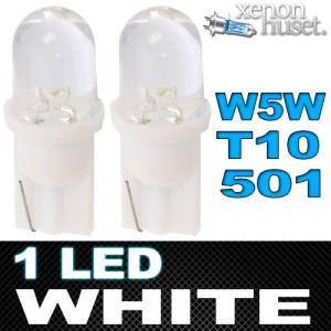 Led diodlampa W5W - T10 - 501 med objektiv Xenonvit 2-pack