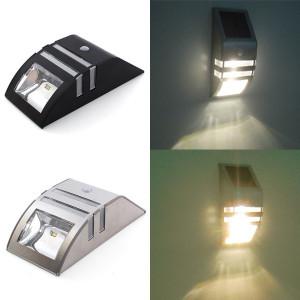 Solcellslampa i rostfritt stål  med rörelsedetektor LED
