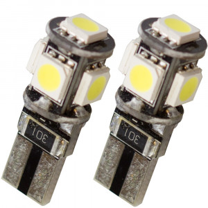 Led diod lampa T10 W5W 5 st 5050 SMD canbus 5000K