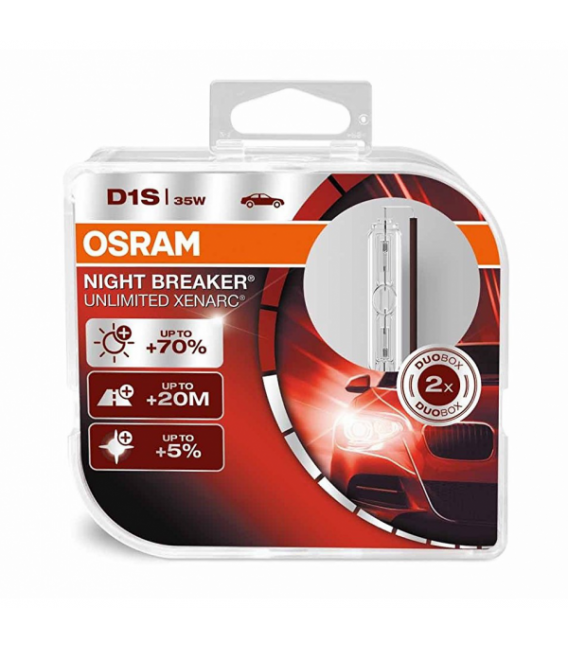 D1S 35W Osram Xenonlampa- Gasurladdningslampa Night Breaker UNLIMITED Xenarc 2-pack